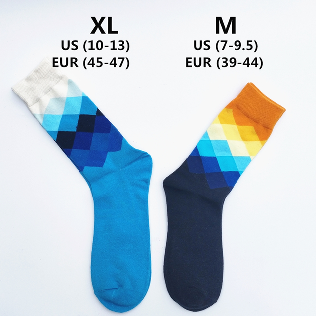 Men Socks Standard Cotton Casual  High Quality Diamond pattern