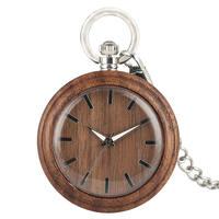 2019 Natural Wooden Fob Watch Open Face Walnut Pocket Watch FOB Luminous Pointers Pendant Clock orologio da tasca
