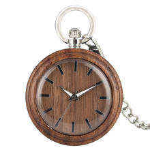 Brown Wooden Fob Watch Natural Walnut Pocket Chain Open Face Clock 2019 Simple Luminous Hands montre gousset homme