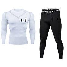 Мужской комплект для фитнеса, чистый черный компрессионный топ+ леггинсы, нижнее белье, Кроссфит, длинный рукав+ футболка с коротким рукавом, набор одежды