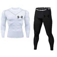 Nouveau Fitness hommes ensemble pur noir haut de compression + Leggings sous-vêtements Crossfit à manches longues + manches courtes T-Shirt ensemble de vêtements