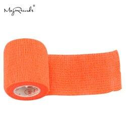 Бесплатная доставка Упаковка из 9 шт. 5 см * 4,6 м оранжевый Водонепроницаемый эластичные самоклеящийся бинт повязки для животных