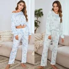 Pajamas Set Lounge-Set 2piece Sleepwear Short Printed Womens And Tops Tie Dye Ruffle
