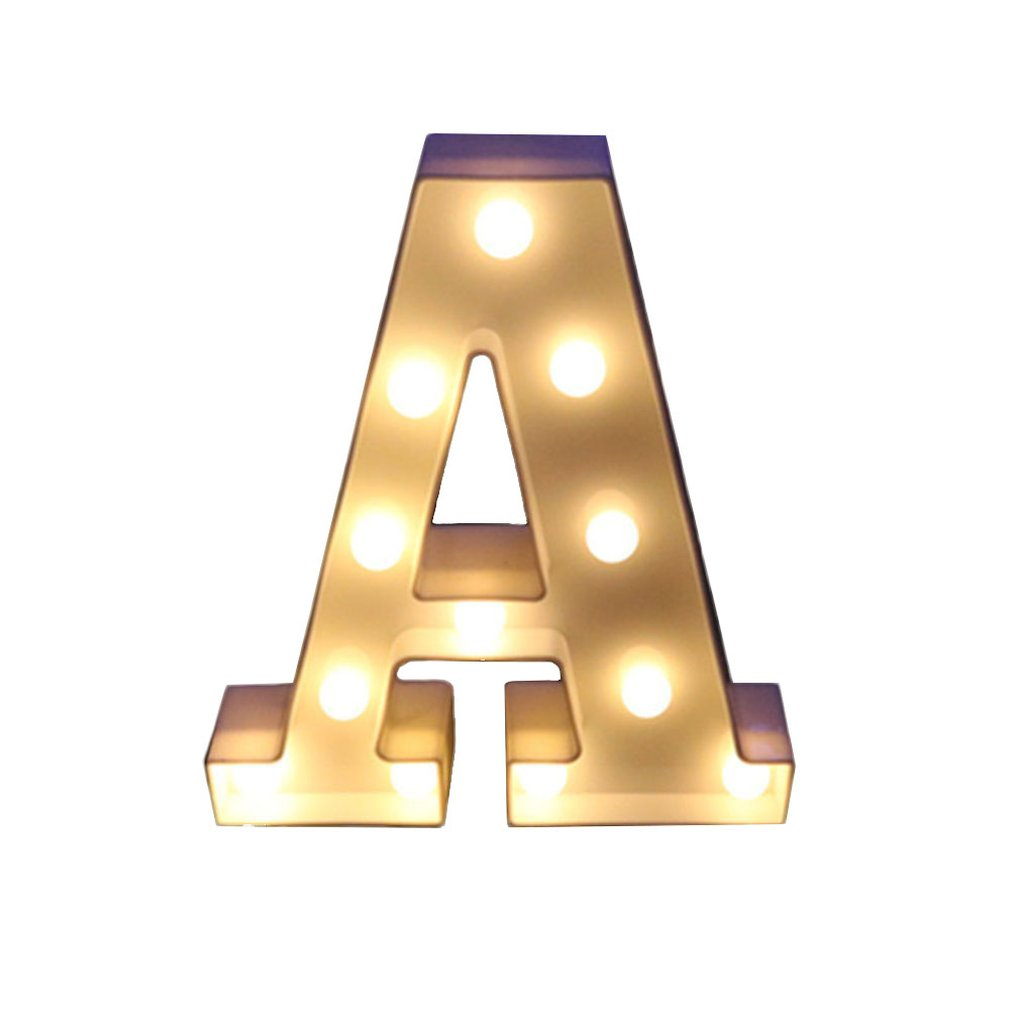 26 Letters White LED Night Light Marquee Sign Alphabet Lamp For Birthday New Year Valentine's Day Decoration Wedding Decoration