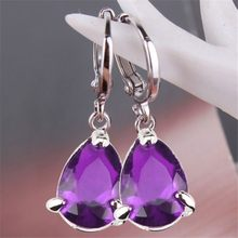 Luxury Silver Sterling 925 Sparkling Earrings Water Drop Cut Amethyst Crystal Stone Dangle Earrings Wedding Bridal Prom Jewelry(China)