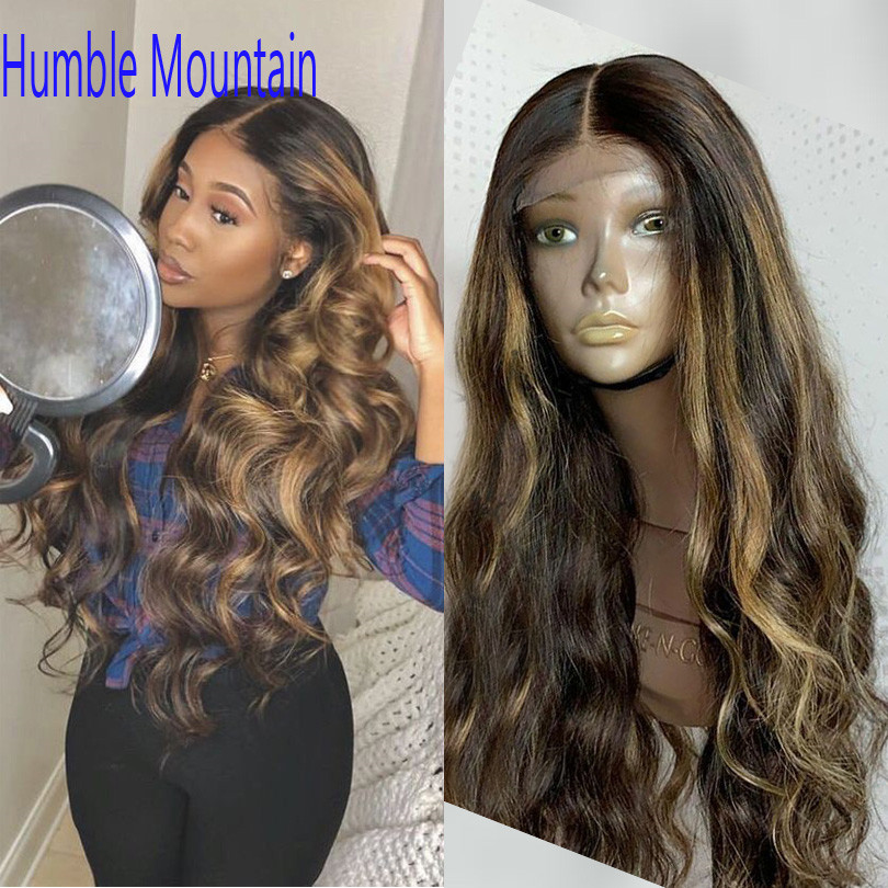 13*6 Soft Brazilian Body Wave Lace Front Human Hair Wigs PrePlucked Honey Blonde Remy Lace Wig With Highlight No Tangles