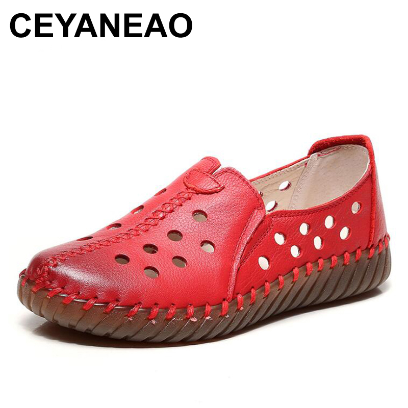 CEYANEAO  flat shoes for women genuine leather shoe woman 2019 spring summer shoes for women cut out hollow out casual shoes
