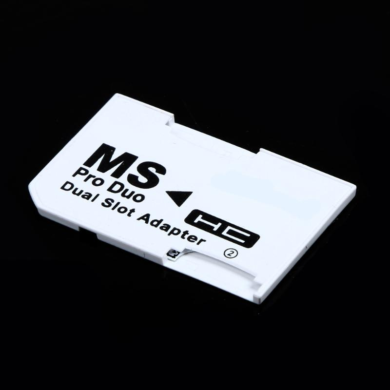 Memory Card Adapter Micro SD TF Flash Card to Memory Stick MS Pro Duo for PSP Card Dual 2 Slot Adapter White image