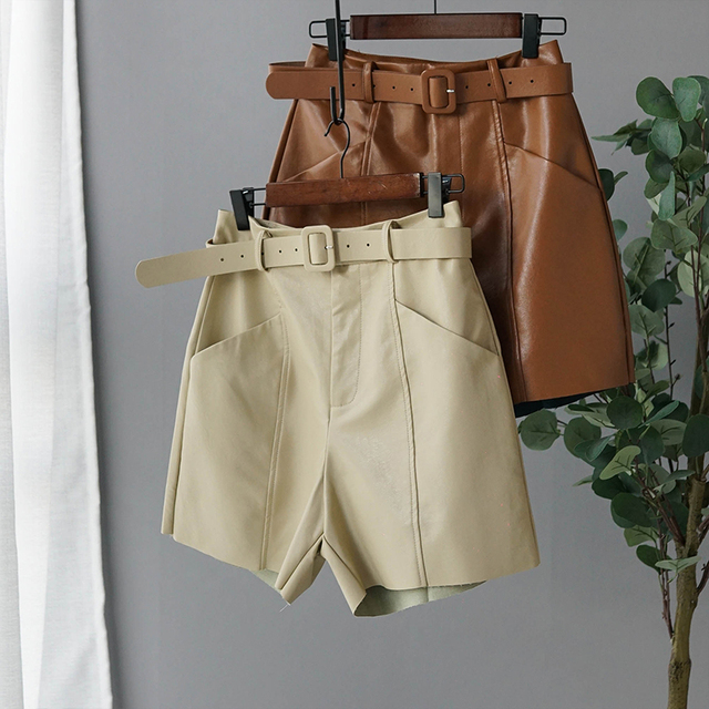 Pu Leather Short High Waist Bermuda Shorts 2019 Autumn Winter Wide Leg Short Pants High Quality 13