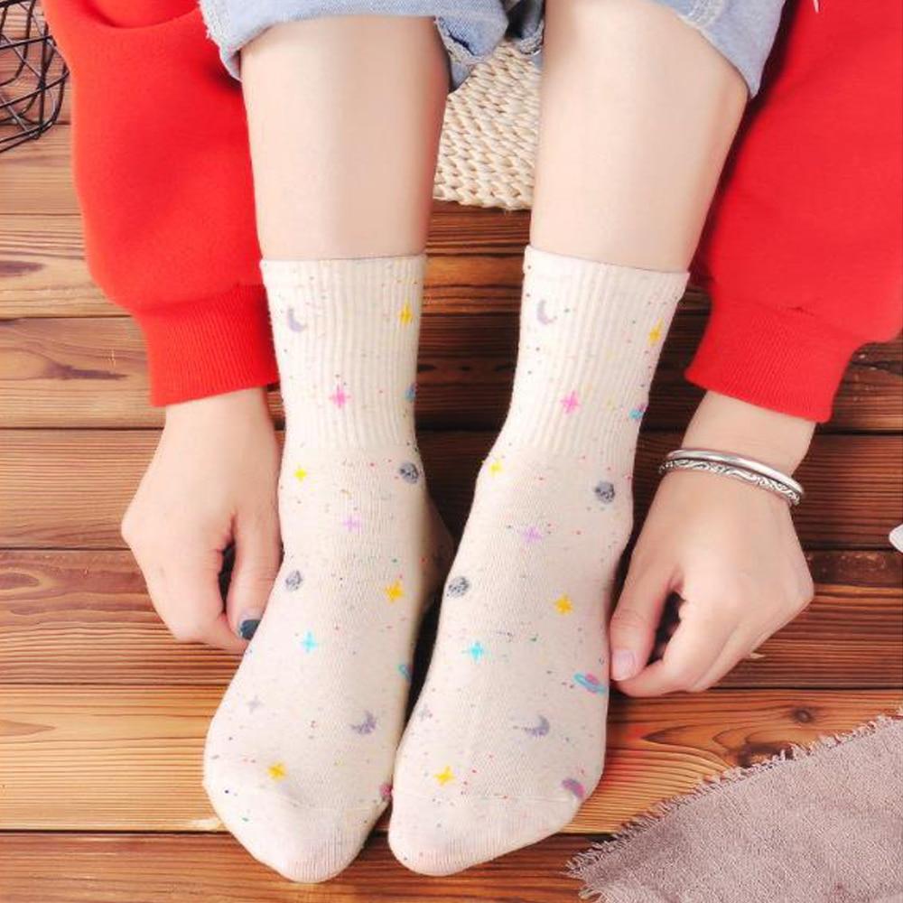 Chaussettes en coton pour femmes, nouveau, chaussettes en coton étoilé et mignonnes, Tube central, tendance coréenne, univers étoilé, nouveauté créative, sauvage, nouvelle collection