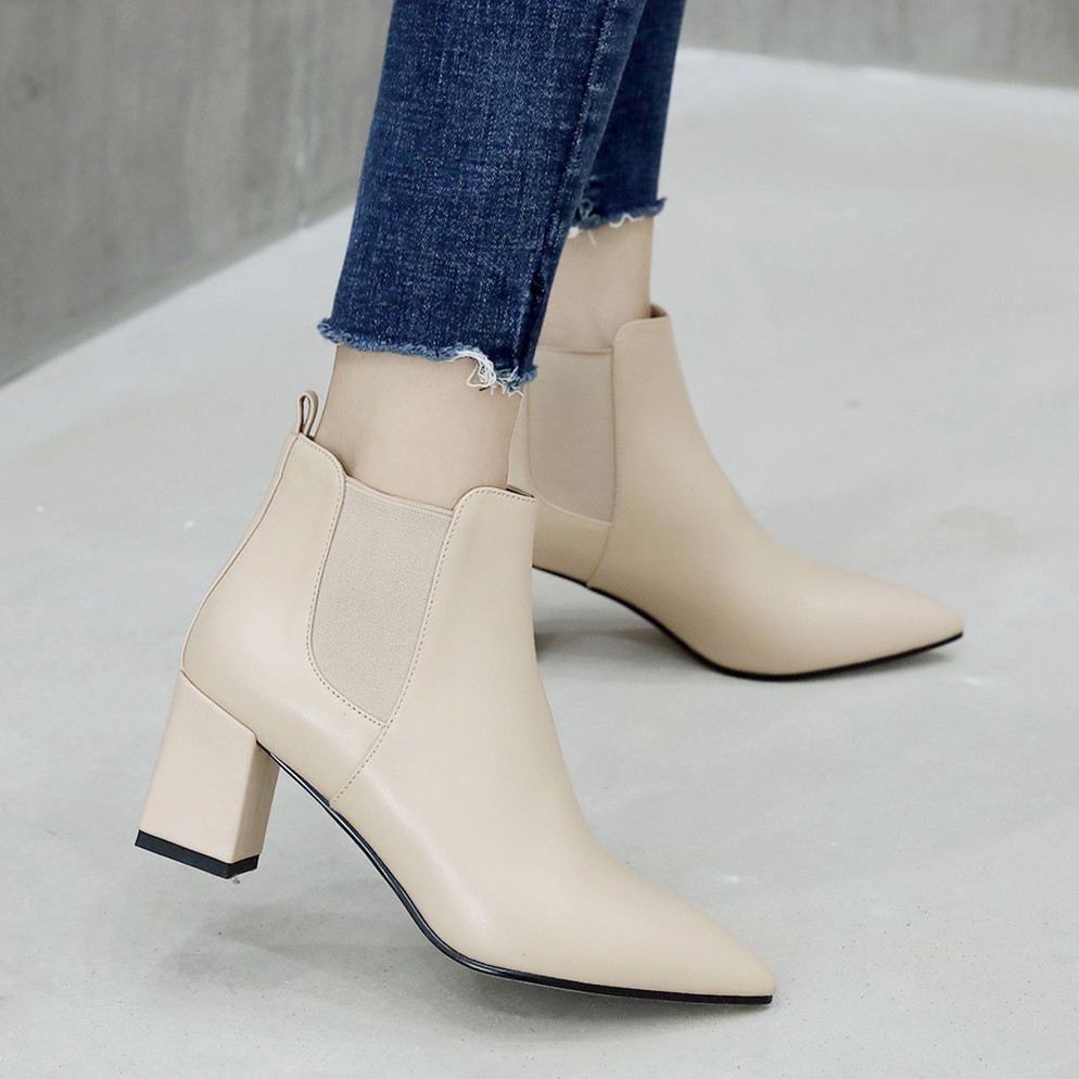 Women's genuine leather elastic patchwork thick high heel pointed toe slip-on ankle boots elegant ladies comfort short boot shoe