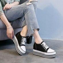 Brand women casual Shoes Flat Platform Wedges woman canvas Shoes lace up shoes black white sneakers spring autumn shoes MC-01