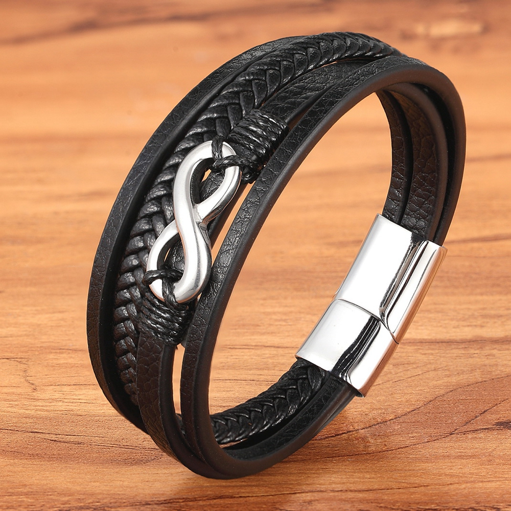 Gold / Steel Accessories Men's Leather Stainless Steel Bracelet Special Geometric Pattern Multi Layer for Men's Birthday Gift