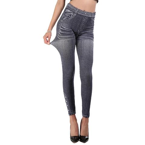 HEFLASHOR 2019 Fake Denim Leggings Women High Waist Push Up Stretch Skinny Pants Printed Leggins Mujer Slim Sexy Pencil Pants Multan
