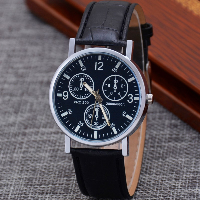 1PC Pop Ultra Thin Watch Men Three Eye Watches Horloge Man Quartz Blue Glass Belt Business Wristwatch Man Montre Pour Homme