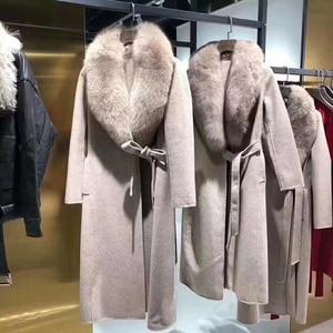 Image 5 - OFTBUY 2020 เสื้อแจ็คเก็ตสตรีฤดูหนาวขนสัตว์จริงขนสุนัขจิ้งจอกธรรมชาติ COLLAR CASHMERE ผสมผ้าขนสัตว์ยาว Outerwear เข็มขัดสุภาพสตรี Streetwear