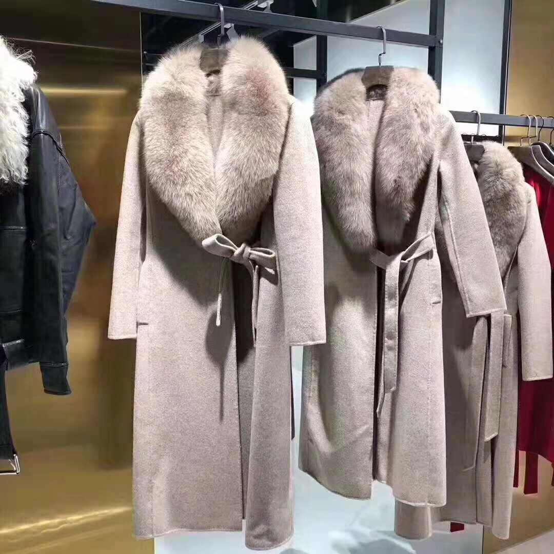 Oftbuy 2020 Winter Jas Vrouwen Echte Bontjas Natuurlijke Vos Bontkraag Kasjmier Wol Blends Lange Bovenkleding Riem Dames Streetwear