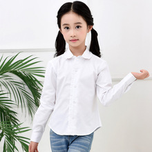 White Shirts for Girls Cotton Turn-down Collar School Uniform Casual Long Sleeved Ruffle 4 To 18 Years Tops Clothes