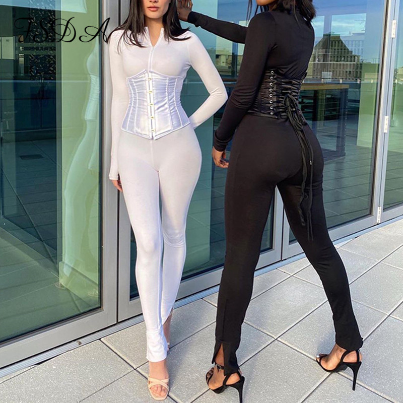 FSDA 2020 Long Sleeve Jumpsuit Women White Autumn Black Sexy Zip Up Romper Corset Zipper Casual Party Jumpsuits Turtleneck