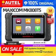 Autel maxicom mk808ts tpms ferramenta de diagnóstico automotivo ferramenta de programação ferramenta pressão dos pneus obd2 scanner pk mp808ts mk808bt