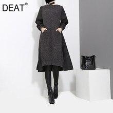 DEAT 2020 New Spring Round Neck Long Sleeve Black Back Pleated Split Joint Loose Irregular Dress Women Fashion stocks JD487