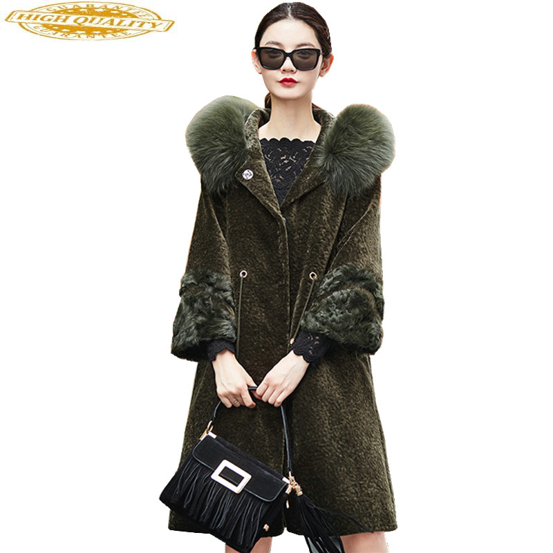Women's Real Fur Coat Winter Jacket Women 2020 New Natural Sheep Shearing Fur Coats Warm Jackets Fox Fur Collar WYQ935