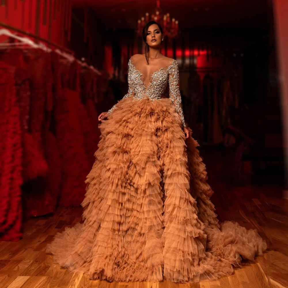 Luxurious Gold Tiered Tulle Evening Dress Beaded Crystals Sheer Neck Prom Dresses Long Sleeves Formal Gowns Vestidos De Gala