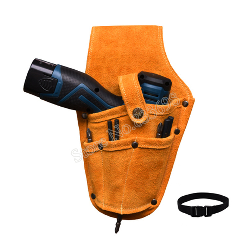 Image 2 - Cowhide Drill Holster Waist Tool Bag Electric Waist Belt Tool Pouch Bag with Belt for Power Drill Electric ScrewdriverTool Bags   -