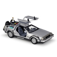 Welly 1:24 Diecast Alloy Model Car Dmc 12 Delorean Back To The Future Time Machine Metal Toy Car for Kid Toy Gift Collection