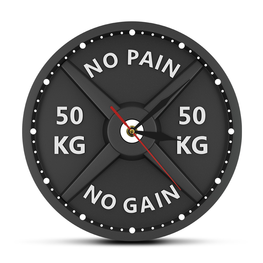 NO PAIN NO GAIN 50KG Barbell 3D Modern Wall Clock Weight Lifting Dumbbell Bodybuilding Wall Watch Gym Workout Strongman Gift