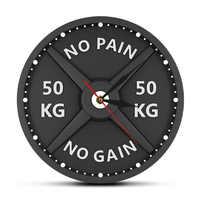 NO PAIN NO GAIN 50KG Barbell 3D Moderne Wanduhr Gewichtheben Hantel Bodybuilding Wand Uhr Gym Workout Strongman geschenk