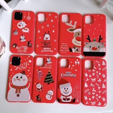 jamular Christmas style mobile phone case for iPhone 11 pro max cartoon Santa snowman elk tree back cover