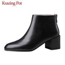Krazing Pot gorący klasyczny prosty styl biuro pani skóra bydlęca buty na zamek błyskawiczny okrągłe toe wysokie obcasy damskie jednolity, w stylu basic kostki buty L66