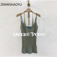 ZIWWSHAOYU Women Summer Green Sexy Backless Camis Tops Fashion Designer Ladies Fashion Sleeveless Knitting Tank Tops 2020