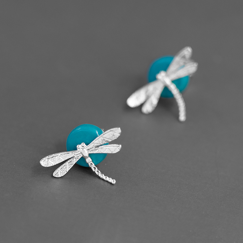 INATURE New Fashion 925 Sterling Silver Gem Stone Dragonfly Stud Earrings For Women Jewelry Brincos Bijoux