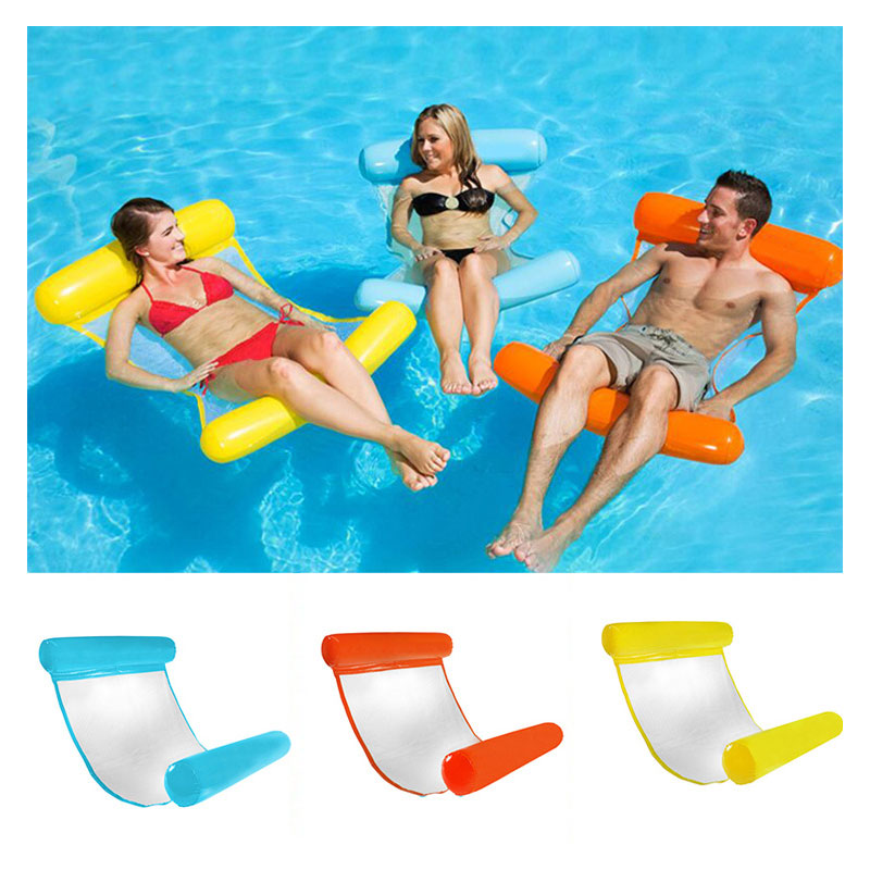 Inflatable Water Hammock Air Mattresses Inflatable Folding Floating Deck Chair for Kids&Adult Swim Pool Recliner For Summer