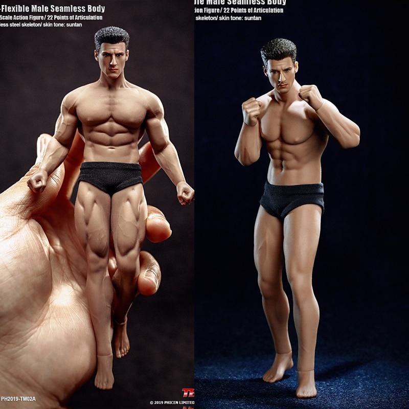 TBLeague 1/12 Super-Flexible Male Seamless Body Action Figure With Head Sculpt TM01A /TM02A Fitness Suntan Skin Soldier Figures