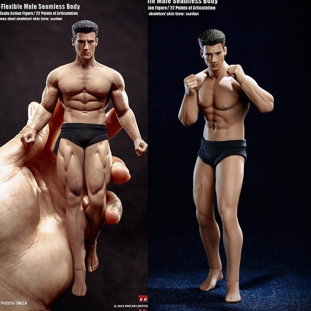 TBLeague 1/12 süper esnek erkek dikişsiz vücut aksiyon figürü kafa heykel TM01A /TM02A spor Suntan cilt asker figürleri