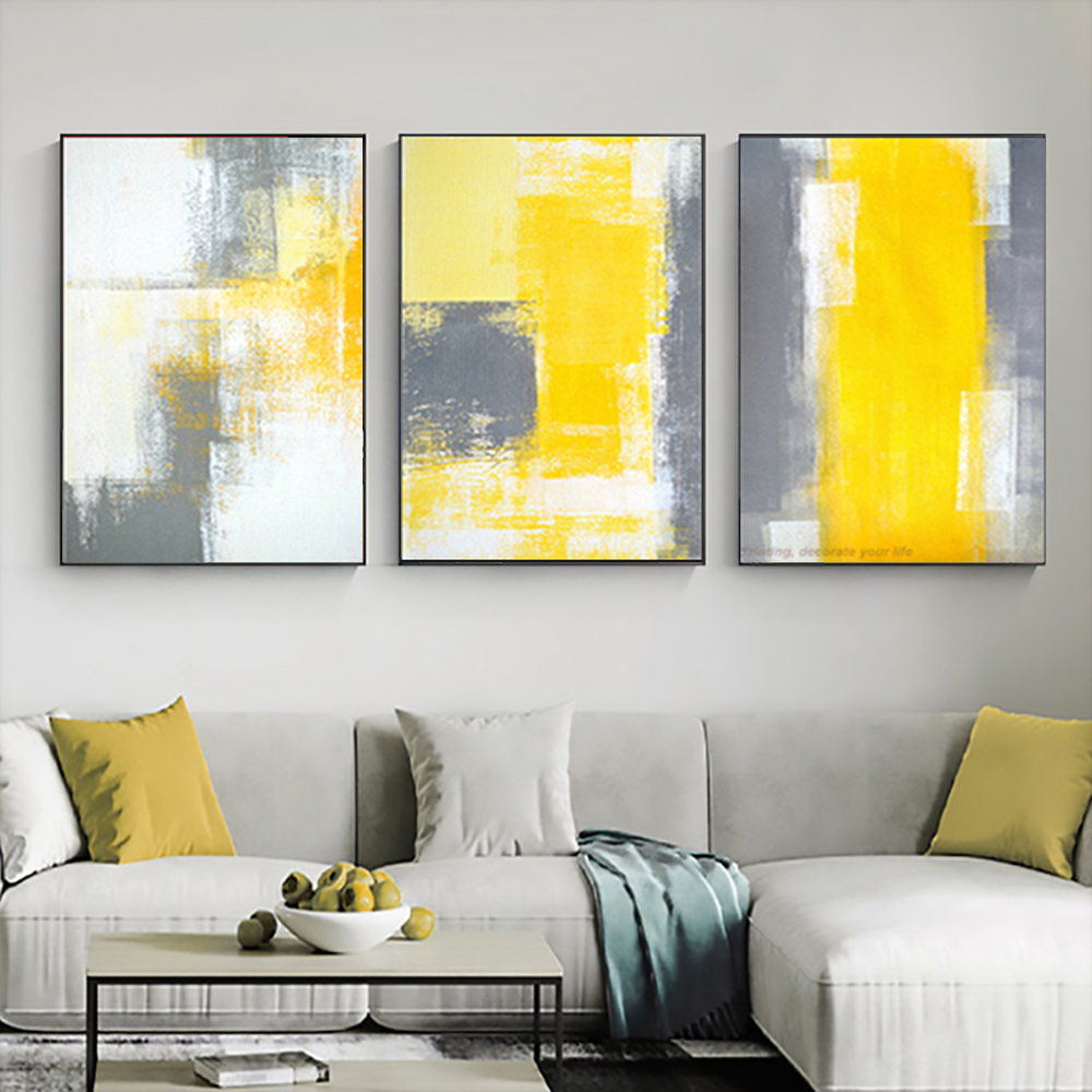3 Piece Canvas Painting Abstract Oil Painting Handmade Yellow Grey Wall Art Canvas Wall Pictures For Living Room Home Decor Picture For Living Room Wall Picturespainting Abstract Aliexpress