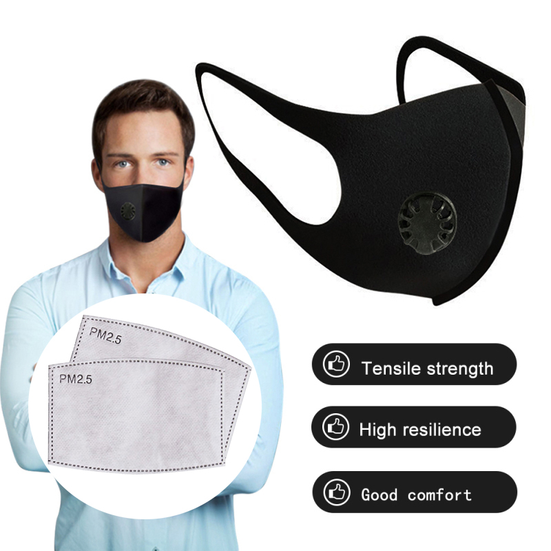 Fashion Unisex Cotton Breath Valve PM2.5 Mouth Mask Activated Carbon Filter Respirator Mouth-muffle Mask Face With Filters