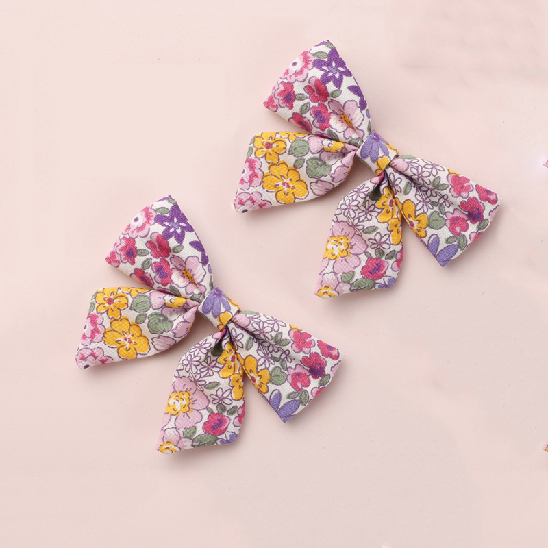 Baby Girls Hair Bows Clips Floral Printing Hair Pin For Children Cotton Barrette Kids Summer Country Hair Accessories 2Pcs/Set