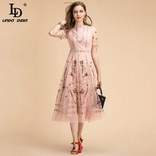 Ld linda della moda pista de verão midi vestido de manga curta feminino lindo malha flor bordado a linha vestidos de festa elegantes