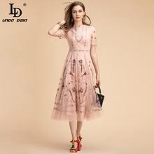 Dress Women Mesh-Flower Embroidery Ld Linda DELLA Gorgeous Fashion Runway Elegant Summer Midi
