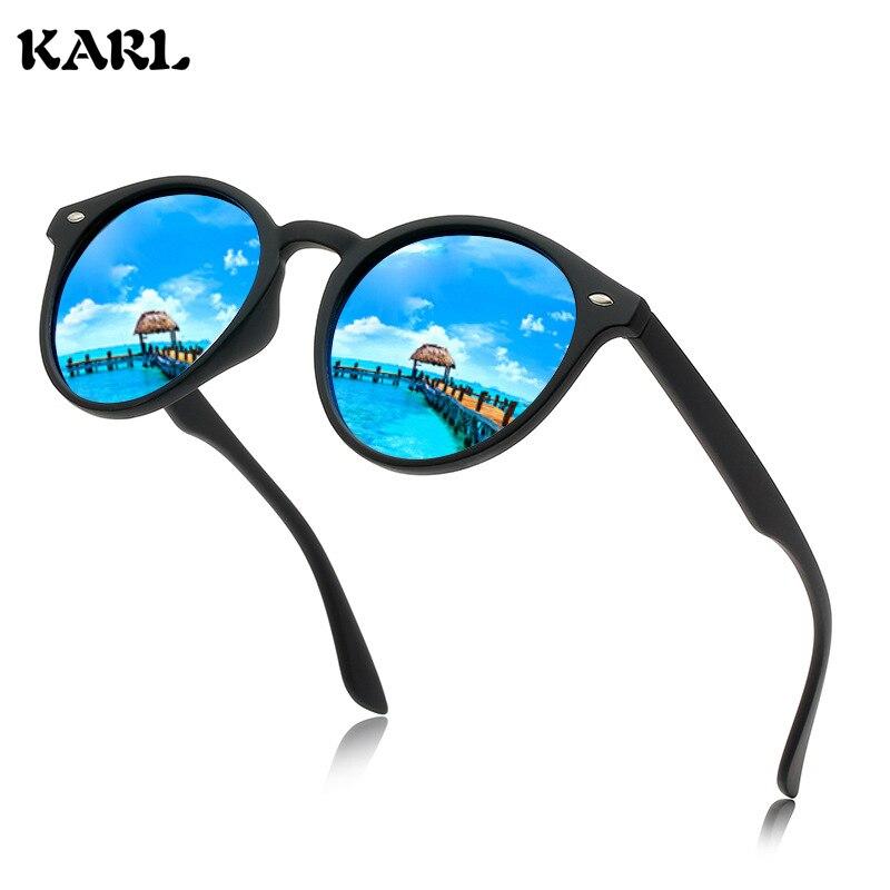 Men Polarized Sunglasses Round KARL Brand Designer Driving Glasses Colorful Film Retro Women