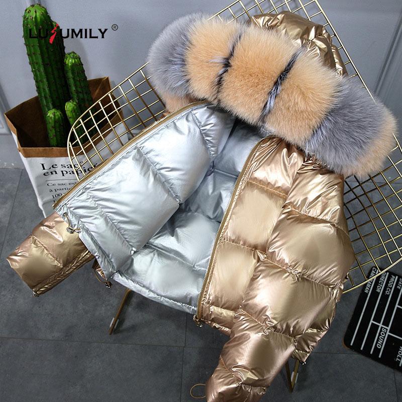 Abrigo de invierno lulumily cuello de piel grande chaqueta de plumón de pato dorado de plata para mujer ropa de abrigo Parkas impermeables con capucha de doble cara-in Parkas from Ropa de mujer    1