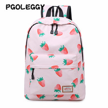 PGOLEGGY brand Female student bag female Korean version of the backpack casual backpack fruit Strawberry printing bag for school(China)