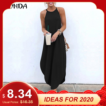 VONDA Women Dress 2019 Summer Sexy Strap Sleeveless Irregular Party Maxi Long Dresses Female Casual Loose Plus Size Vestidos 1
