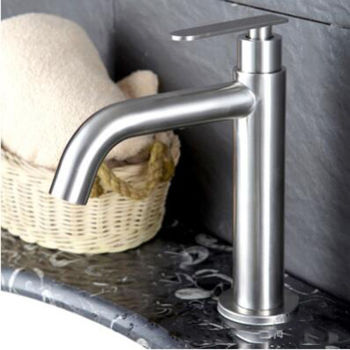 Basin Faucet Stainless Steel Single Cold Mixer Water Tap Bathroom Sink