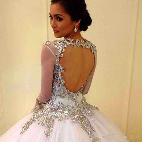 Bola Gaun Putih Quinceanera Gaun Sweet 16 V Leher Tulle untuk 15 Tahun Backless Lengan Panjang Manik-manik Vestido de 15 Anos