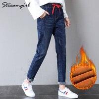 Streamgirl Winter Jeans Women Thicken Fleece Pants High Waist Denim Harem Warm Jeans Women Thick Loose Jean Elastic Waist 2019